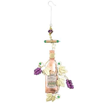 Wine bottle metal Christmas ornament.