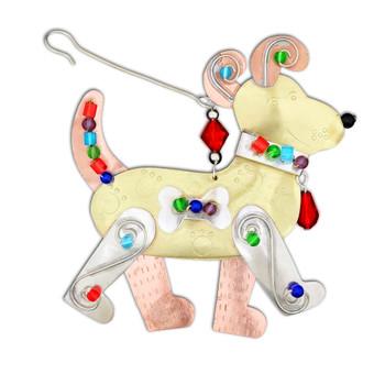 Baxter dog metal Christmas ornament.