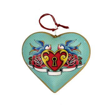 Lovebirds Christmas heart ornament.