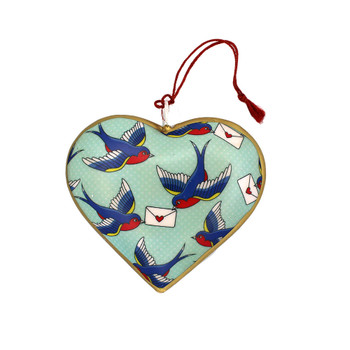Backside of lovebirds Christmas heart ornament.