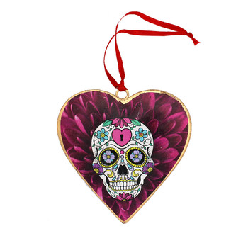 Sugar skull with purple flowers metal heart Christmas ornament.
