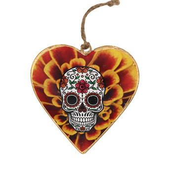 Sugar skull pansy metal heart ornament.