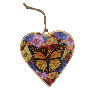 Backside butterfly floral metal heart ornament.