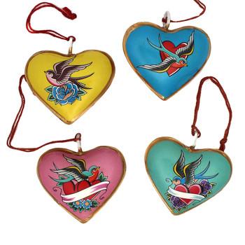 Frontside of Lovebirds metal heart Christmas ornaments.