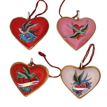 Backside of Lovebirds metal heart ornaments.