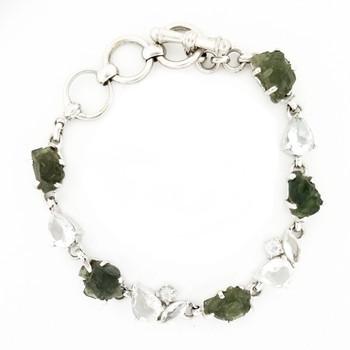 Moldavite and White Topaz sterling silver bracelet.