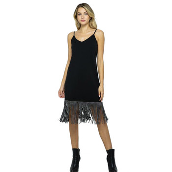 Little Black Dress with Studded Fringes
