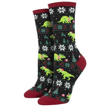 Santasaurus Rex Dinosaur Holiday Women's Crew Socks