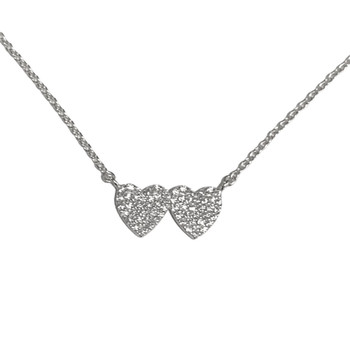 Clear pave double heart sterling silver vermeil necklace.