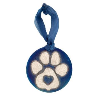 Dog paw print with heart Raku medallion ornament.