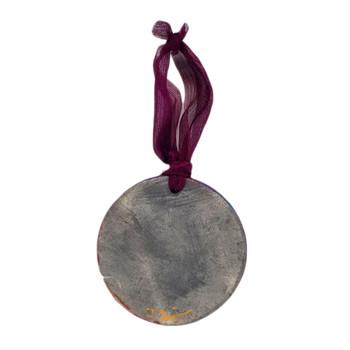 Backside of Raku medallion ornament.
