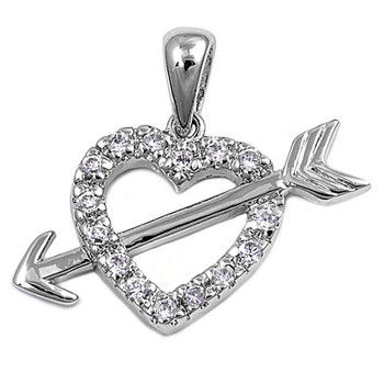 Sterling silver CZ heart with arrow pendant.