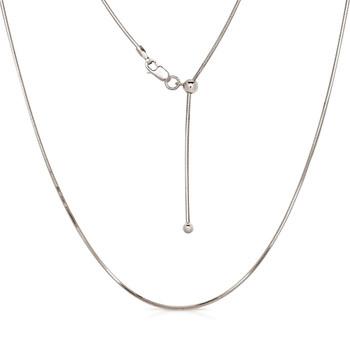 "22"" adjustable sterling silver 0.9 mm snake chain."