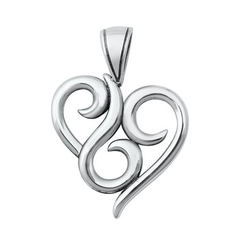 Swirly heart sterling silver pendant.