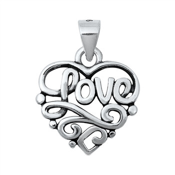 Sterling silver heart pendant with love and swirls inside.