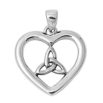 Celtic heart sterling silver pendant.
