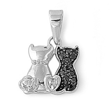 Two cats with black CZ sterling silver pendant.