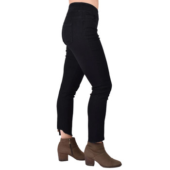 Black Denim Crop Leggings with Leopard Panel side view