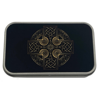 Celtic Cross Metal Tin Storage Box