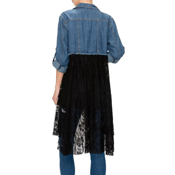 Denim and Lace Button Up Shirt Jacket back view