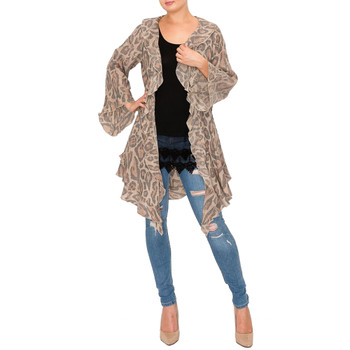 Leopard Lightweight Cardigan with Ruffles