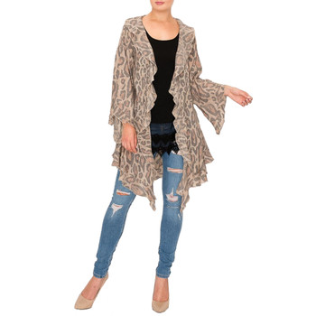 Leopard Lightweight Cardigan with Ruffles front view