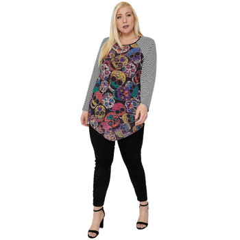 Plus Size Sugar Skull Print Tunic Top