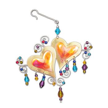 Luv u more double heart beaded metal ornament.