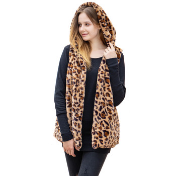 Soft Faux Fur Leopard Hooded Vest