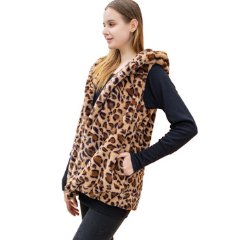 Soft Faux Fur Leopard Hooded Vest side view