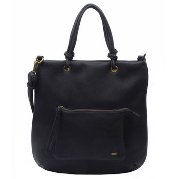 Vegan Leather Black Hobo Tote Shoulder Bag Purse