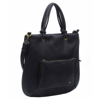 Vegan Leather Black Hobo Tote Shoulder Bag Purse front view