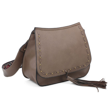 Bohemian Crossbody Taupe Purse front view