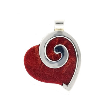 Red Coral heart sterling silver pendant.