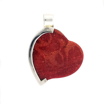 Backside of red Coral heart sterling silver pendant.