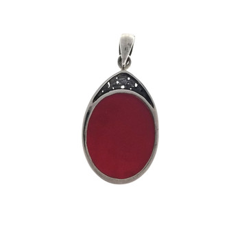 Backside of red Coral sterling silver pendant.