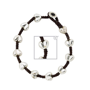 Heart alloy silver bracelet.
