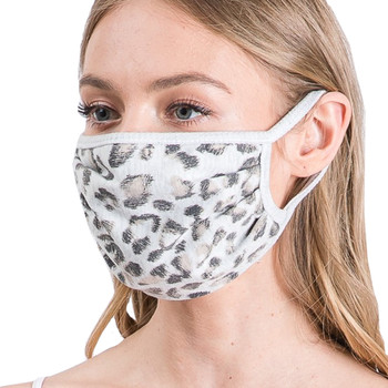 Light Gray Leopard Animal Print Face Mask front view