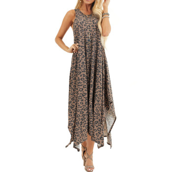 Leopard Print Jersey Handkerchief Hem Summer Dress