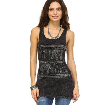 Ribbed Mineral Wash Tank Top with Elephant Print