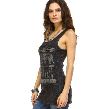 Ribbed Mineral Wash Tank Top with Elephant Print side view
