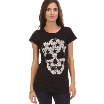 Star Skull Print Black Tee Shirt