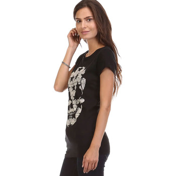Star Skull Print Black Tee Shirt side view