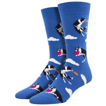 Catch Your Drift Frisbee Dog Men's Crew Socks
