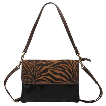 Tiger Print Genuine Leather Shoulder Bag Purse