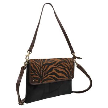 Tiger Print Genuine Leather Shoulder Bag Purse front view