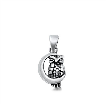 Owl on the moon sterling silver pendant.
