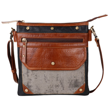 Genuine Leather and Canvas Crossbody Purse