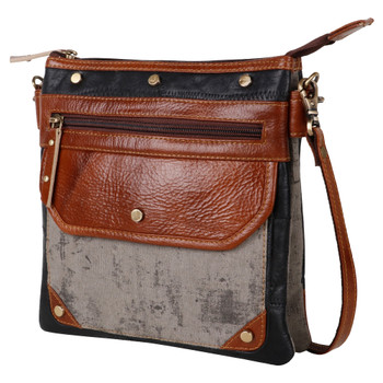 Genuine Leather and Canvas Crossbody Purse front view