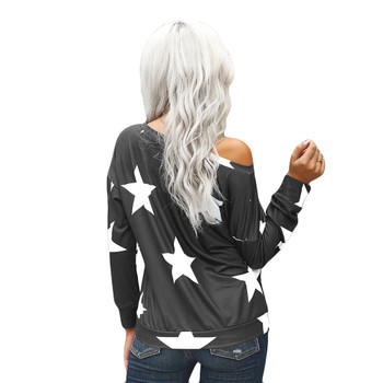 Backside of gray shirt with white stars.